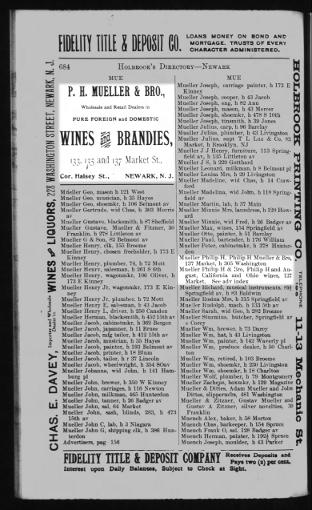 Newark NJ City Directory for Mueller, Philip (p 684)